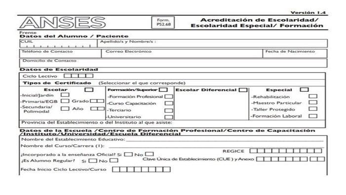 Manera de subir el formulario a la plataforma de ANSES