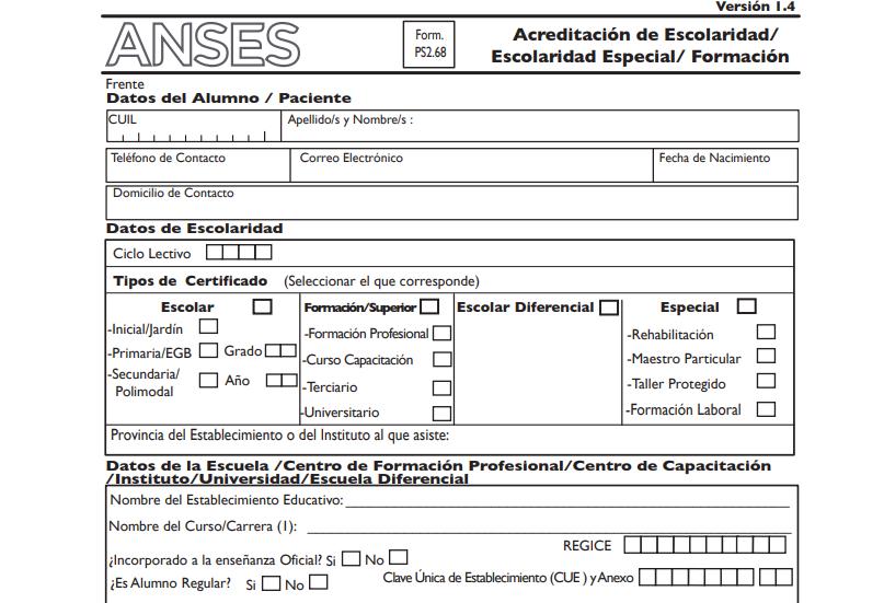 certificado de escolaridad en ANSES