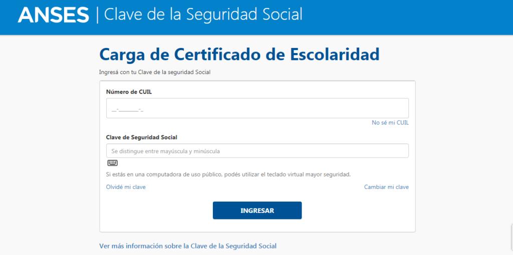 Cómo cargar y presentar el certificado de escolaridad